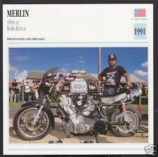 1991 Merlin 4500cc Rolls-Royce (5000cc?) 150hp Custom Motorcycle Photo Spec Card