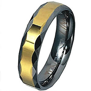 TUNGSTEN CARBIDE Ring with Faceted Grooves & Accent Band, size 10