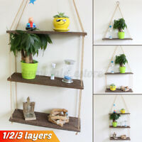 Wooden Wall Storage Floating Rack Rope Hanging Plant Flower Pot Shelf Hom