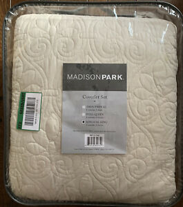 IVORY MATELASSE 3pc King QUILT SET : CREAM QUEBEC COTTON FILL COTTAGE COVERLET