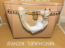 BNWT MICHAEL KORS HAMILTON TRAVELER LEATHER STUDDED LARGE TOTE OYSTER COLOR