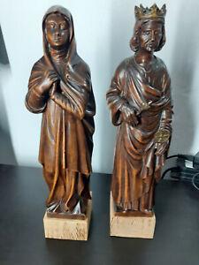 ANCIENNES STATUETTES BOIS RELIGIEUSES - SAINT LOUIS ET NONNE FRANCISCAINE 41CM