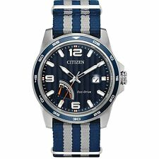 Citizen Eco-Drive Men's PRT Blue Dial Two-Tone Nylon Band 42mm Watch AW7038-04L