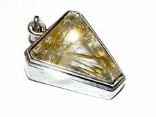 Sterling Silver 925 Faceted Golden Rutilated Quartz Crystal Pendant 16.5 Grams R