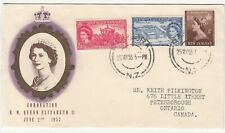 New Zealand: Coronation FDC to Peterborough, ON, Canada, 25 May 1953