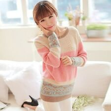Women's Sexy Pink O-Neck Print Worsted Sweater Top Dress