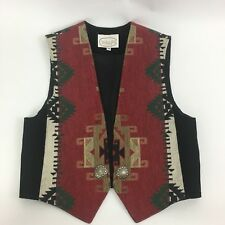 Vintage Wraps Collection Vest Woman Medium Southwestern Suede Red Black Concho