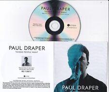 PAUL DRAPER  THINGS PEOPLE WANT  RARE 1 TRACK PROMO CD  [MANSUN]