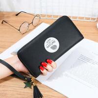 Lovely Zipper PU Leather Women Tassel Long Wallet Purse Female Card Holder Gifts