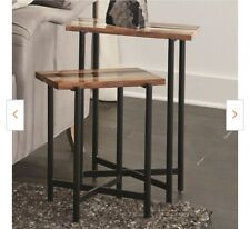 """Rivers Edge 18"""" Acacia Wood and Acrylic Nesting End Tables, Set of 2"""