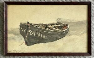 Early 20th C. Watercolor of Docked Oyster Boat (Signed)