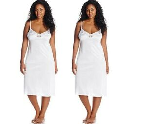 "Vassarette Womens 2 Pk Lace Full Figure Anti-Static Full Slip 10805 White 44 28"""
