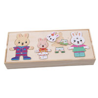 Wooden Puzzle Set Baby Toys Rabbit Changing Clothes Puzzles Kids Child SO