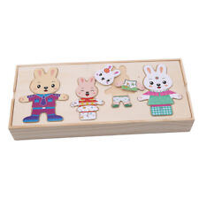 Cartoon Rabbit Clothes Set Kids Wooden Puzzles Educational Creative Toys CB