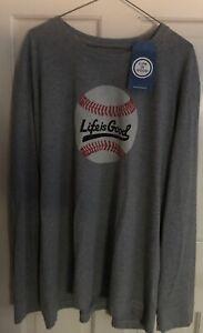 LIFE IS GOOD-Baseball Mens Gray LS T-shirt Size XXL (New)