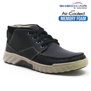 MENS SKECHERS LEATHER SKECH-AIR COOL MEMORY FOAM WALKING ANKLE BOOTS SHOES SIZE