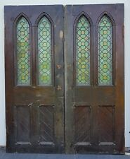 Pair Gothic Church Stained Glass Doors Original and unrestored