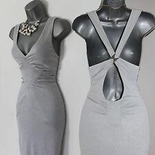 Karen Millen Metallic Silver Open Back Prom Cruise Cocktail Midi Dress UK 12  40