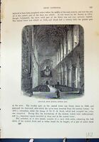 Old Antique Print Ripon Cathedral Nave Minster Architecture Cassell C1882 19th