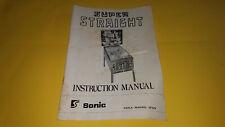 1977 Original Sonic Super Straight Pinball Machine Game Manual