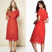 Old Navy Size Medium M Red Eyelet Lace Hem Short Sleeve Midi Dress Casual