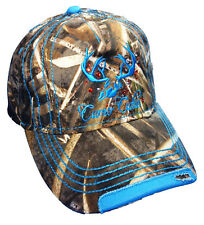 Women Realtree Camo Cap with Blue Trim and logo Plus Free Gift