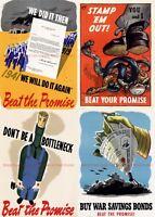 US Poster patriotic propaganda beat promise print WW2 WWII art war saving bond