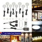 8pcs White LED Light Kitchen Under Cupboard Cabinet Puck Wireless Remote Dimmer