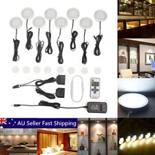 8pcs White LED Light Kitchen Under Cupboard Cabinet Puck Wireless Remote Dimmer