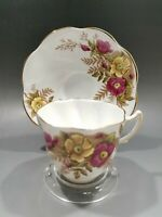 ROSINA Bone China Made in England Tea Cup & Saucer Set Pink Yellow Flowers 4999