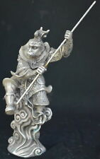 9.15Inch Chinese Tibet Silver Wear Robe Monkey King Gold Hoop Ancient Statue