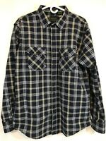 NONO Maldonado Men's Long Sleeve Button Down Shirt Navy Plaid Sz XL Cotton/Poly
