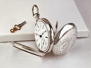 1876 ROCKFORD 15 J KEY WIND Pocket Watch RR GRADE in COIN SILVER CASE 18s - RUNS