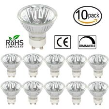 [10 Pack] 50W GU10 JDRC MR16 120V Halogen Flood Light Bulbs Dimmable Cover Glass