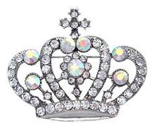 Princess Queen Royal Crown Tiara Brooch Pin Necklace Pendant Clear Crystal