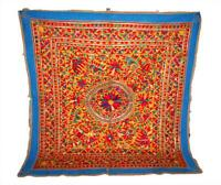 """ANTIQUE 62"""" X 66"""" HEAVY MIRROR EMBROIDERY RABARI WALL TRIBAL HANGING TAPESTRY"""