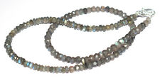 """Blue Labradorite Stone 5mm Round Beads 925 Sterling Silver 20"""" Strand Necklaces"""