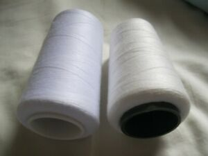 SET of 2 sweing Thread spun Polyester 5000 yard white off white pack of 2