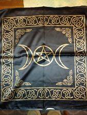 "21"" x 21"" Black & Gold Triple Moon. Pentacle/ Pentagram Altar/Tarot  cloth"