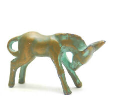 Small Vintage Solid Bronze Donkey Mule Figurine