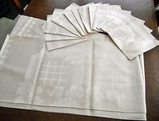 Vtg Damask Linen Tablecloth & 12 Napkins Beautiful Fruit Pattern 66 x 88 Unused!