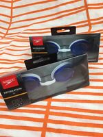 2x Speedo Recreation Jet Adult Swimming Googles Blue & White Anti-Fog UV 380 Pro