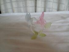 Hand crafted art glass mini hummingbird figure pink flower