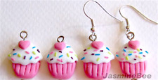 Cupcakes Polymer Fimo Clay Earrings Charms Beads PINK 15mm*6