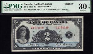 1935 Bank of Canada $2 English PMG VF30 EPQ (BC-3)