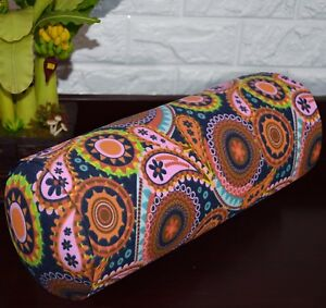 af252g Orange Red Pink FLower Cotton Canvas Yoga Bolster Cushion Cover Customize