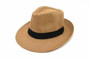 Unisex Black Band Summer Wide Flat Brim Fedora Panama Paper Straw Hat Cap Lot