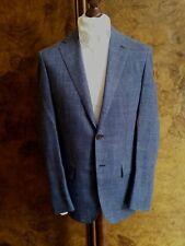 Nuevo Con Etiquetas D 'avenza (Cucinelli) Plaid Azul Chaqueta Blazer/Hecha a Mano 38R Lana/seda/lino