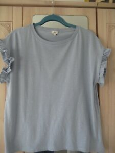 RIVER ISLAND BLUE FRILL SLEEVE TOP SIZE UK 14