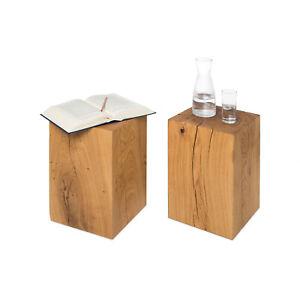 Couchtisch Beistelltisch Holzblock Holzklotz Eiche Massivholz 30x30x50 cm Tisch